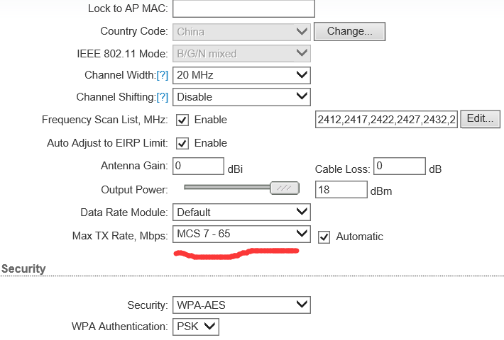 max tx rate,mbps